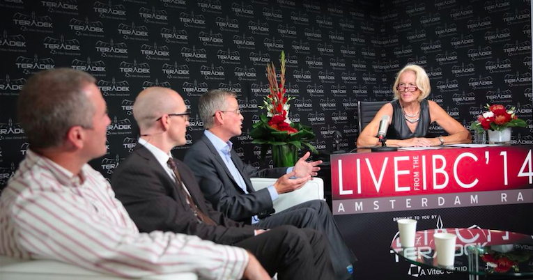 Janet Anne West of Broadcast Beat on stage with Canon, Sony and Amberfin at the 2014 IBC Show.