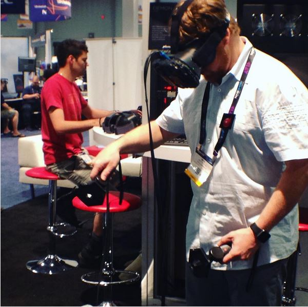 Checking out some of the VR toys in the Silver Drafts booth