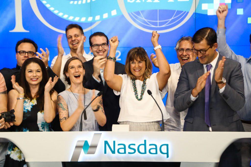 SMPTE's Barbara Lang Cheering at NASDAQ
