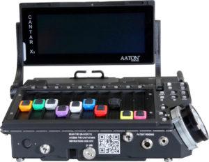 Front-View-of-Aaton-Digital's-new-Cantar-Mini-16-Track-Digital-Mischer-Sound-Recorder-mat-schwenken-Display-oppene