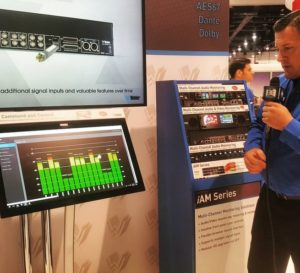 Craig Newbury, VP at Wohler, demos their new IP monitor, capable of AES67