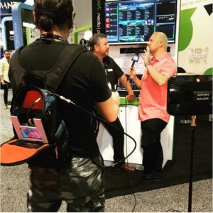 Edel Garcia, Executive Vice-President Sales & Marketing of - glookast with the LiveU backpack