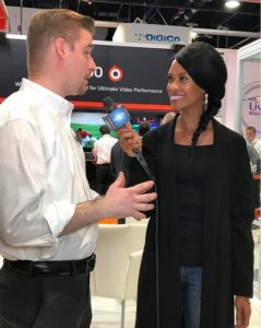 Jaimi at LiveU with Chris Perry, Product Manager