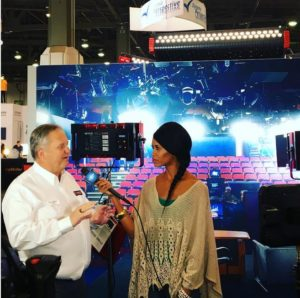 Jaimi talking with Tom Yuhas at Cineo Lighting