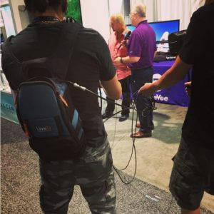 The LiveU backpack in action as Ryan interviews the Vice President Marketing & North American Sales of seevee, Chris Scurto