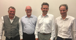 Left-to-Right: SGL co-founder Bernie Walsh, Masstech President and CEO Joe French, and SGL co-founders Paul Moran and Dave Bray.