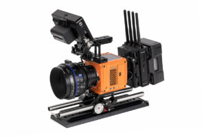 RED Komodo outfitted with Wooden Camera Accessory Kit Pro (Gold-Mount) for RED KOMODO, Teradek Bolt 4K, SmallHD Focus Pro, and Zeiss CP.3 lens