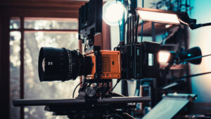 RED Komodo outfitted with Wooden Camera Accessory Kit Pro (Gold-Mount) for RED KOMODO, Teradek Bolt 4K, and SmallHD Cine 7. Photo courtesy of Phil Holland