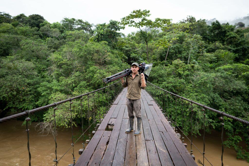National Geographic explorer Federico Pardo on location in Columbia